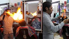 Kadeřnictví pro odvážné: Holič v uprchlickém táboře upravuje lidem vlasy ohněm