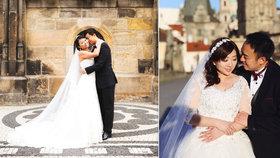 Anna a Nelson přijeli do Prahy z Číny na den. Chtěli jen svatební fotky