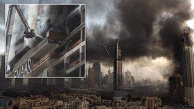Dubaj zahalil hustý dým: Rozestavěný mrakodrap v plamenech!