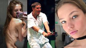 Kost a kůže: Ze sexy dcery tenisty Kafelnikova se stala vychrtlina, která trpí anorexií