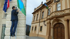 Pražské radnice vyvěsily romské vlajky: Praze 7 to majitel budovy zakázal