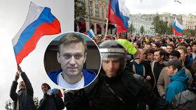 """""""Vše nejlepší a sbohem,"""" volal dav odpůrců Putina. Demonstranty zatkla policie"""