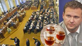 Kdo z poslanců pije a kdo jeden měsíc ne? Suchý únor pronikl i do Sněmovny