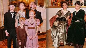 Herci v dobových kostýmech: Vetchý jako Rašín, Donutil jako Kramář a Stivínová s Vlasákovou jako elegantní manželky