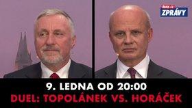 Topolánek v duelu s Horáčkem: Ptejte se obou kandidátů v přímém přenosu