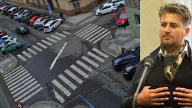 Street art, nebo vandalismus? Vulgární symbol uprostřed křižovatky v Holešovicích se udržuje z piety