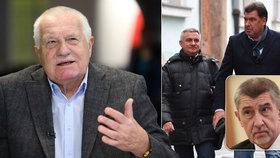Václav Klaus v Blesku: Babišův tlak na Zemana kvůli Mynářovi a Nejedlému je záměrný