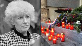 """Před 22 lety zemřela Olga Havlová (†62). Lidé za ni v Praze zapálili svíčky. """"Rozuměla obyčejným lidem, snažila se pomáhat,"""" zaznělo"""