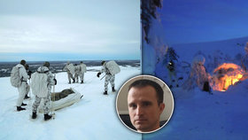 Drsný výcvik za polárním kruhem: Hasič Jiří (40) »otestoval« i ledovou vodu v jezírku