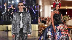 Na molu s Naomi! Čech Petr před hvězdným publikem předváděl módu Dolceho & Gabbany