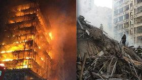 Po ohnivém pekle se mrakodrap s 26 patry zhroutil. Zřejmě kvůli výbuchu plynu