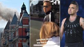Robbie Williams musel prchat z hořícího pekla! Zpěvák byl z londýnského hotelu evakuován