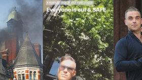 Robbie Williams uvězněný v hořícím hotelu: Přišel poslíček, ať vypadneme!
