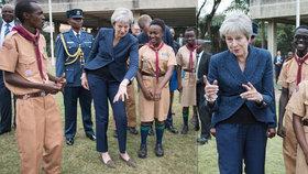 Mayová návštěvu Afriky zakončila dalším tancem. Se skauty v Keni