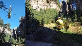 V Prachovských skalách se zřítil horolezec, je vážně zraněný
