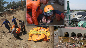 Dívku zasypaly trosky až po hlavu, přežila. Obětem tsunami kopou masový hrob