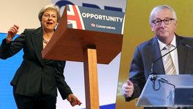 """Za řečnickým pultem si tentokrát """"zatrsal"""" Juncker, byl to výsměch Mayové?"""