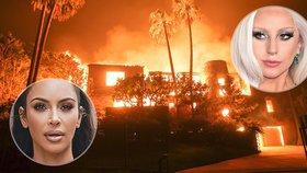 Kim Kardashian a Lady Gaga na útěku. K jejich domům se blíží obří požár