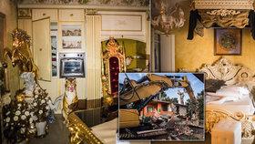 Mafiánskému klanu zbourali 8 domů: Zlaté sochy, trůn kmotra i další luxusní vybavení policie zabavila