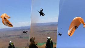 Prašný vír unesl paraglidistu a divoce s ním házel. Vyděšená žena vše natočila