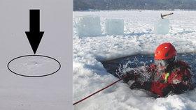 Dva lidé se probořili do Brněnské přehrady! Strážníci po nich našli jen díry v ledu