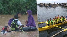 Těžká cesta za vzděláním: Děti musí denně do školy doplavat, charita jim shání lodě