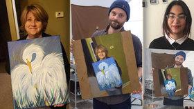 Tohle je obraz obrazu kluka, který namaloval obraz obrazu své mámy! Řetězová reakce baví internet