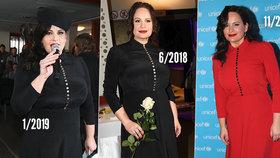 Madam Knoflíček? Čvančarová vytáhla po čase stejné šaty, jen barvu změnila!