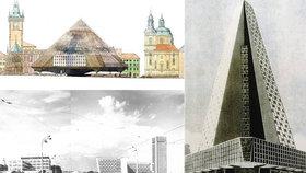 Pyramidy v Holešovicích nebo mrakodrap u Rudolfina! Podívejte se, jaké stavby mohly vzniknout za socialismu