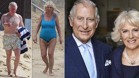 Princ Charles a Camilla šli do plavek! Květované šortky přebily kyselý obličej