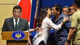 """""""Byl jsem gay, ale vyléčily mě krásné ženy,"""" tvrdí prezident. Pak líbal Filipínky"""