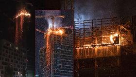 """Obří požár zachvátil """"nejmodernější mrakodrap"""" Evropy: Zhroucení budovy nehrozí, uklidňovaly úřady"""