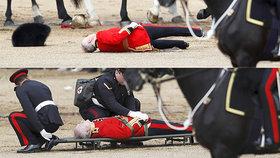 Při oslavě narozenin královny spadl voják z koně. Major skončil na nosítkách