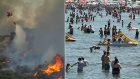 Na plážích hlava na hlavě, několik mrtvých i požáry. Úmorné vedro trápí část Evropy