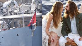 Pompézní veselka na slavné jachtě! Heidi Klumová si podruhé vzala hvězdu Tokio Hotel
