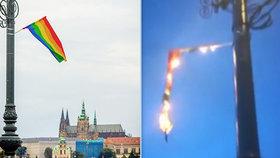 Během Prague Pride zapálil duhovou vlajku a do lidí střílel římské svíce! Policie řeší incident na mostě Legií