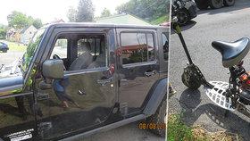 Senior jel na koloběžce bez helmy: Při nehodě hlavou prorazil okýnko jeepu