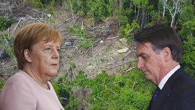 Do Merkelové se obul brazilský prezident: Vezměte prachy a zalesněte si Německo
