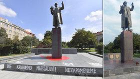 Několik lidí se vrhlo na sochu Koněva v Dejvicích: Umyli ji od červené barvy