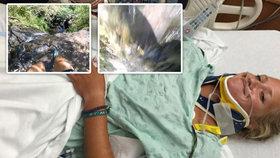 Krev v puse, sténání a děs: Žena natočila svůj pád z vodopádu na Havaji