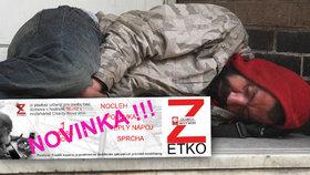 """Bezdomovce obdarujte """"zetkem"""": Za 50 korun se vyspí, vysprchují a nají"""