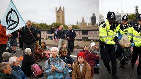 První den masivních protestů: Policie v Londýně zatkla přes 130 ekoaktivistů