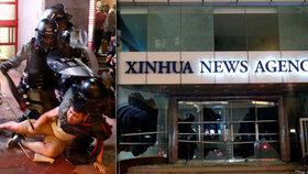 Rozzuření lidé zdemolovali kancelář Nové Číny. Policie v Hongkongu vytáhla slzný plyn