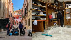 Mladí Benátčané s pytli vzali město útokem. Uklízí po ničivých záplavách