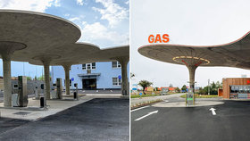 Kopie slavné benzínky v Libni: Majitel musel překrýt čísla a dodat vysvětlující štítky