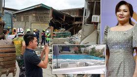 Zemětřesení rozhoupalo auto první dámy. Padající zeď zabila dívku na Filipínách