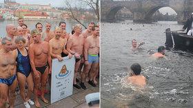 """Jakub (11) se místo školy vrhl do ledové vody! V mrazivé Vltavě se otužovali i """"tři králové"""""""