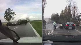 Děsivé video z českých silnic: Brutální nehoda očima viníka i zadržení řidiče s pistolí za pasem