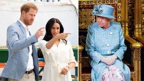 Královna si došlápla na Meghan a Harryho! Z miliardového kšeftu chce svůj podíl