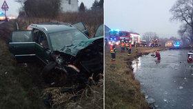 Při nehodě u Bochova se zranilo sedm lidí, včetně dítěte: Auto skončilo v zamrzlém rybníku!